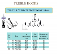 TH-705 ROUND TREBLE HOOK ST-48